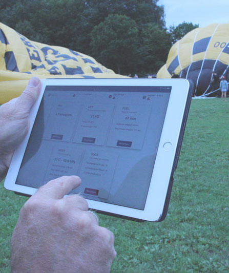 Quick Release Balloon Flight Planning Software on Tablet
